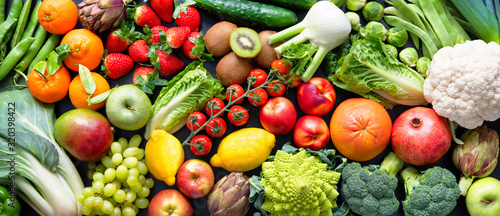 Naklejki owoce  food-background-with-assortment-of-fresh-organic-fruits-and-vegetables
