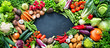 canvas print picture - Food background with assortment of fresh organic vegetables