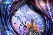 Surrealism. Meditation. Figure Of Man In Lotus Pose In Flames. Spirals Of Time And Warped Space