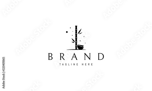 Fotografija Vector logo on which an abstract image of bamboo with bowls.