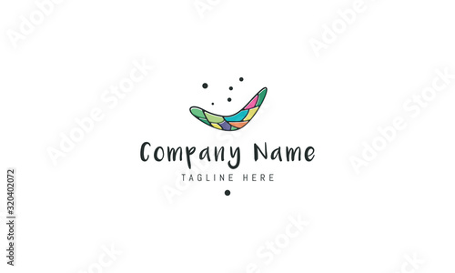 Vector color logo on which an abstract image of a boomerang. Wallpaper Mural