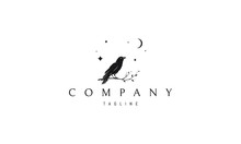 Vector Logo On Which An Abstract Image Of A Raven Sitting On A Branch.