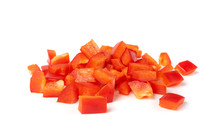 Sliced Paprika Or Red Sweet Pepper Rings Set Isolated