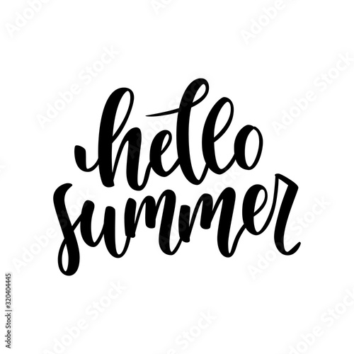 Vászonkép Hello summer hand drawn lettering isolated on white background for your design