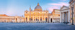 Panorama of the square and the Basilica of St. Peter in the Vatican at sunrise