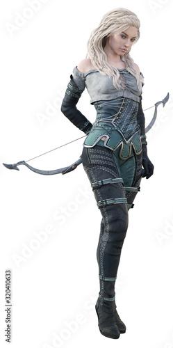 CGI Female Fantasy Archer Posing Canvas Print