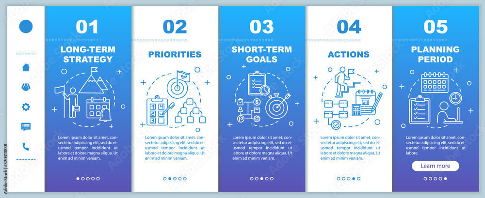 Fototapeta Strategy for business onboarding vector template. Priorities and actions. Planning period. Responsive mobile website with icons. Webpage walkthrough step screens. RGB color concept