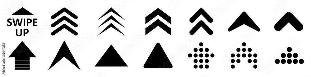 Fototapeta Set swipe up arrows icon. Group arrows directed upwards. Different black arrows sign. Scroll or swipe up. Elements for business infographic, social media – stock vector