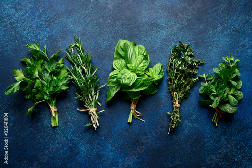 Fototapeta Bunchs of variety fresh aromatic herbs. Top view with copy space. obraz