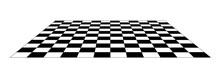 Checkerboard Floor Tile Pattern In Black And White. 12x12 Perspective View