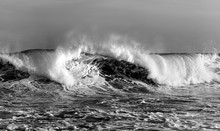 Black And White Photo Of Wave,...
