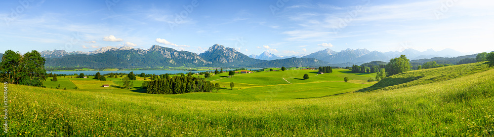 Fototapeta Panorama of rural Bavaria, Allgäu, Germany
