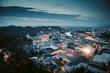 Leinwanddruck Bild Historic city of Salzburg at twilight, Austria
