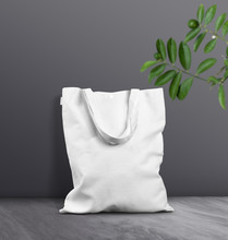 White Blank Tote Bag On Marble...