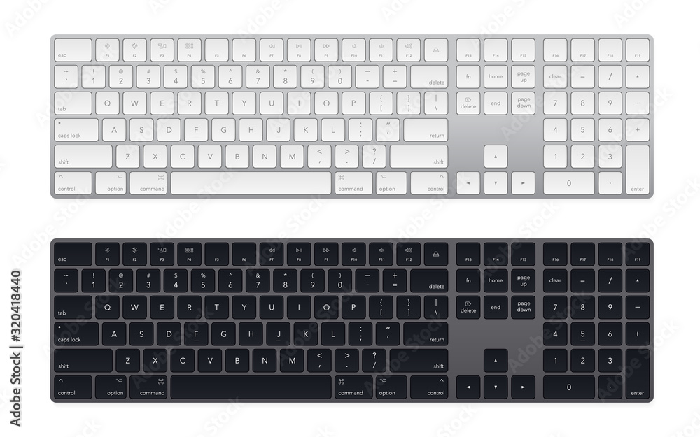 Fototapeta Modern laptop bluetooth keyboard pack isolated on white. Minimalistic keyboard with black buttons. Vector illustration