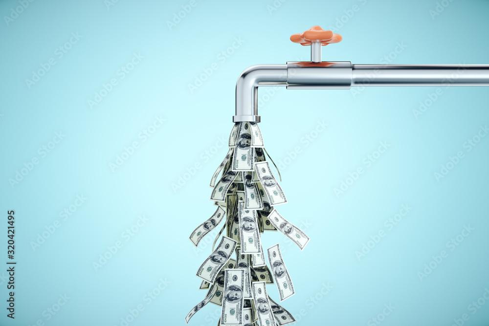 Fototapeta Water tap dripping dollar banknotes