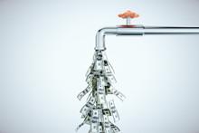 Water Tap Dripping Dollar Bills
