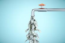 Water Tap Dripping Dollar Bank...