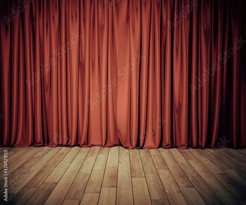 Obraz na plátně Stage with red curtain