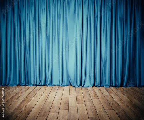 Photo Stage with blue curtain