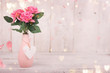 canvas print picture - Flowers composition for Valentine's, Mother's or Women's Day. Pink flowers on old white wooden background. Still-life.