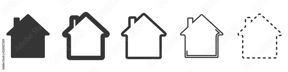 Fototapeta House vector icons. Set of black houses symbols