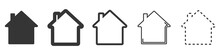 House Vector Icons. Set Of Black Houses Symbols