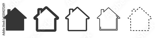 House vector icons. Set of black houses symbols Canvas Print
