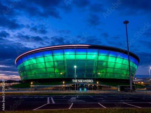 The SSE Hydro at night on July 21, 2017 in Glasgow, Scotland. The Hydro arena is part of Glasgow's conference and event district.