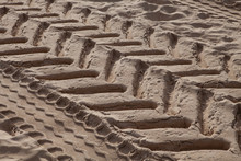 Excavator Tracks In Sand
