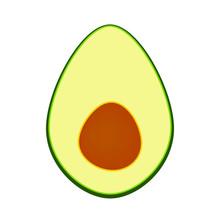 Half Avocado Icon, Avocado Split In A Half.