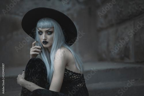 Dark gothic beautiful lady standing outdoor Wallpaper Mural