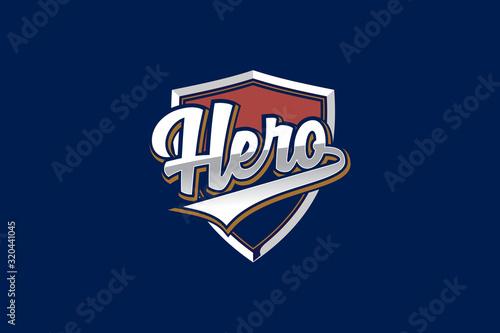 Obraz na plátně logotype letter hero with shield vector template