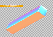Cuboid Is Three-dimensional Geometric Shape Isolated With Colorful Hologram Chameleon Color Gradient. 3d Objects Block. Vector Illustration.