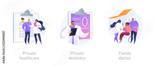 Private medical services abstract concept vector illustration set. Private healthcare, dentistry, family doctor practitioner. Non-governmental general medical treatment, primary care abstract metaphor - 320444607