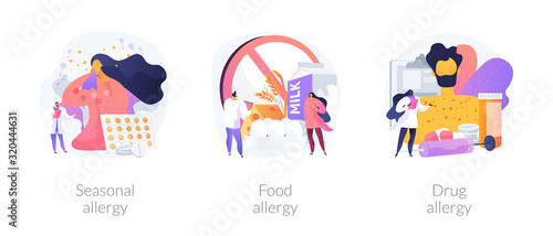 Photo Allergy types abstract concept vector illustration set