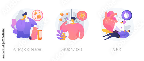 Allergic reactions first aid abstract concept vector illustration set Wallpaper Mural