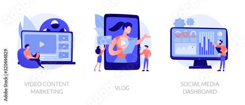 Fototapeta Digital advertising business, online streaming, user statistics analysis icons set. Video content marketing, vlog, social media dashboard metaphors. Vector isolated concept metaphor illustrations obraz