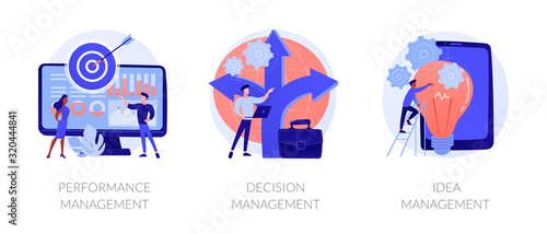 Workflow optimization, business direction choosing, startup launch icons set. Performance management, decision management, idea management metaphors. Vector isolated concept metaphor illustrations - 320444841