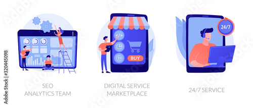 Business teamwork, internet commerce, customer support icons set. Seo analytics team, digital service marketplace, 24-7 service metaphors. Vector isolated concept metaphor illustrations - 320445098