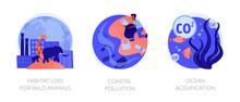 Biodiversity Reducing, Urbanization Problem. Biological Impact. Habitat Loss For Wild Animals, Coastal Pollution, Ocean Acidification Metaphors. Vector Isolated Concept Metaphor Illustrations