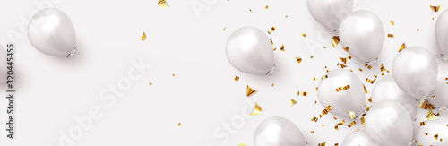 Fototapeta Festive background with helium balloons. Celebrate a birthday, Poster, banner happy anniversary. Realistic decorative design elements. Vector 3d object ballon, white color. flight up obraz