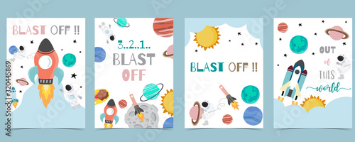 Fotografie, Obraz Collection of space background set with astronaut, sun, moon, star,rocket