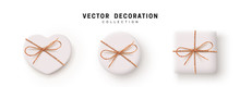 Gift Boxes Vector. Set Festive Realistic Objects. White Gift Box Tied Ribbon Bow From String Twine Rope, Twisted Thread Cord. Holiday Presents Different Shape