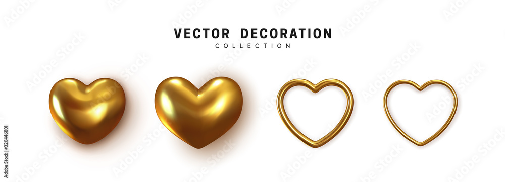 Fototapeta Gold colored Hearts realistic decoration 3d object. Set of Romantic Symbol of Love Heart isolated. Vector illustration