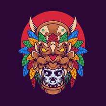 Hawaiian Skull Vector Illustra...