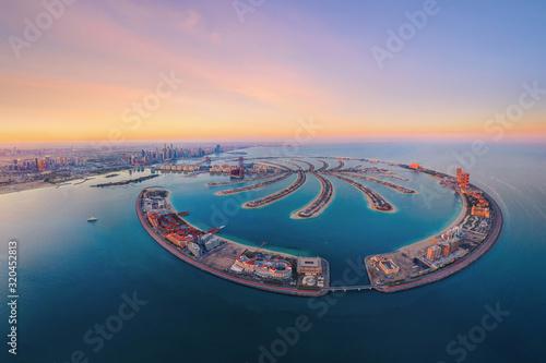 Aerial view of The Palm Jumeirah Island, Dubai Downtown skyline, United Arab Emirates or UAE Wallpaper Mural