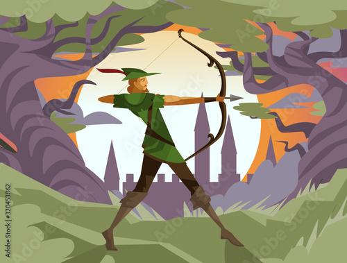 Tablou Canvas robin hood ranger archer aiming