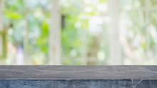 Empty Black Marble Stone Table Top And Blurred Of Interior Room With Window View From Green Tree Garden Background Background - Can Used For Display Or Montage Your Products.