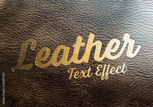 Fototapeta Golden Text Effect on Leather Mockup obraz